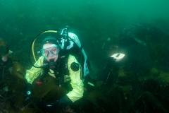 Farne Islands: Katie Broadley in a kelp field